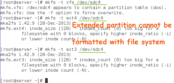 extended partition format error