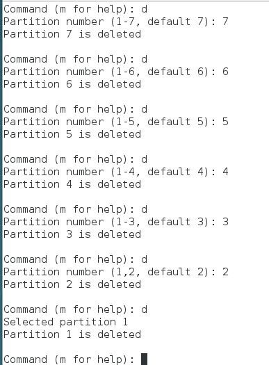 delete partition