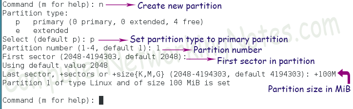 fdisk create new partition