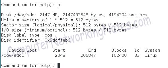 fdisk print command