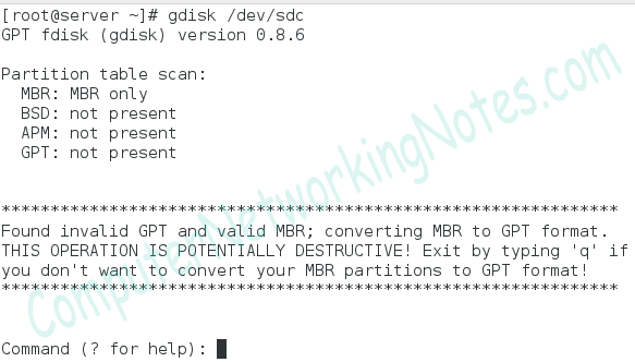 gdisk command