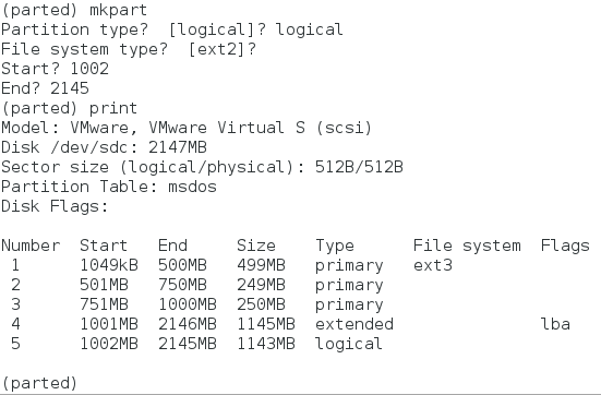 parted command logical partition