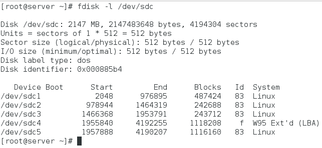 fdisk -l command
