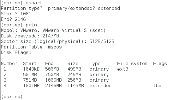 parted command extended partition