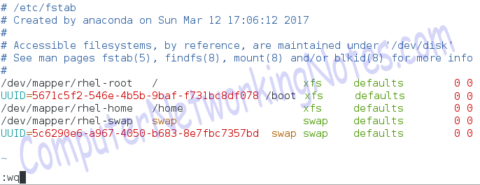 swap partition fstab entry
