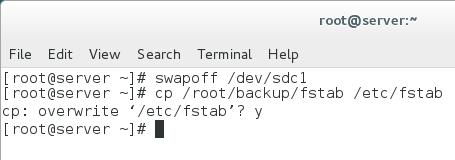 restore fstab file