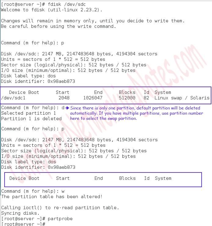 delete swap partition
