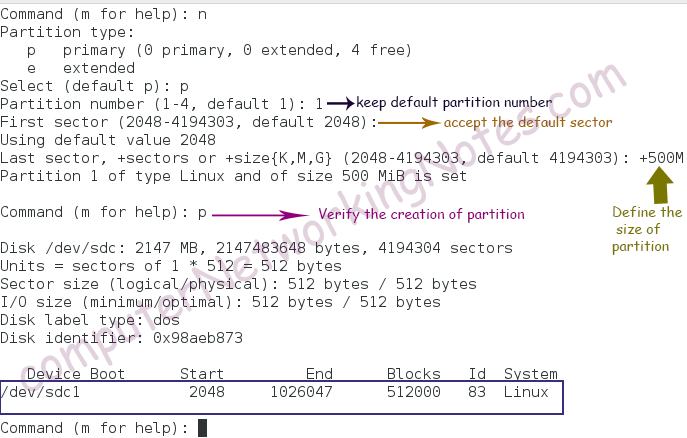 fdisk command create new partition