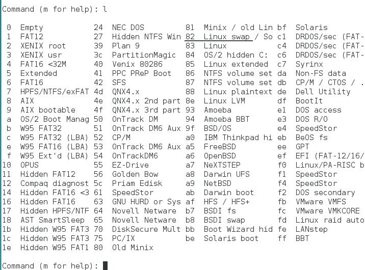 fdisk list partition type