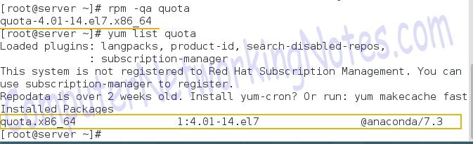 rpm -qa quota