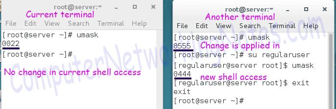 umask setting bashrc file testing