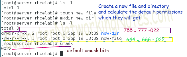 umask example ls -l command