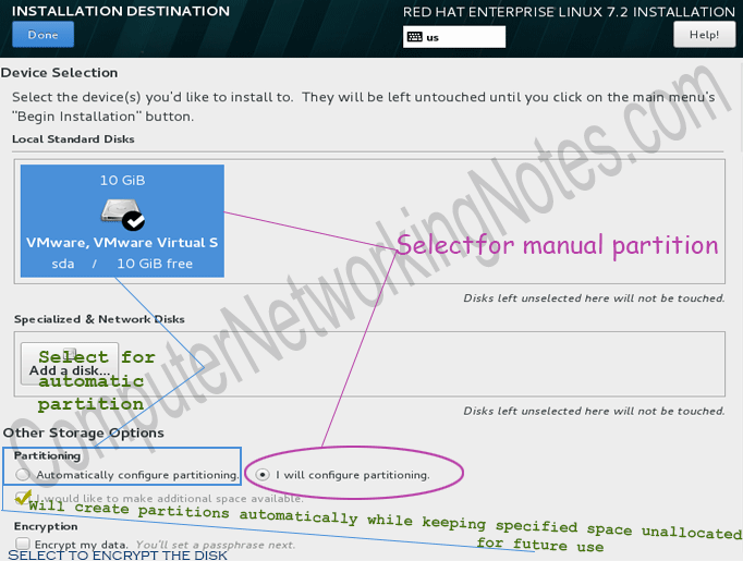 rhel installation select destination