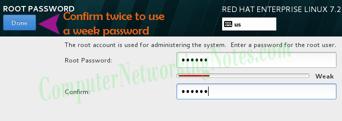 rhel installation root password