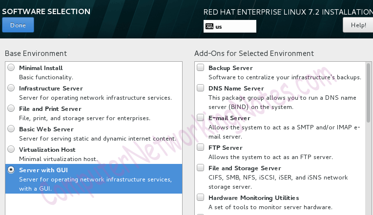 rhel installation software selection