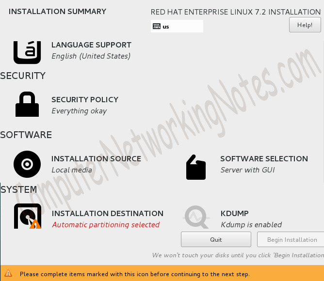 RHEL installation summary screen