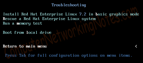 RHEL installation boot options