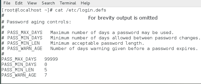default password aging policy