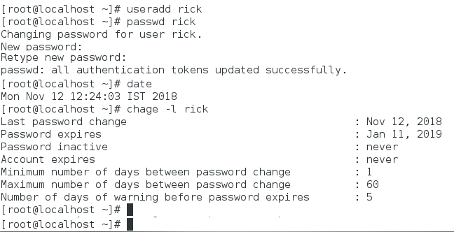 password aging global option verification