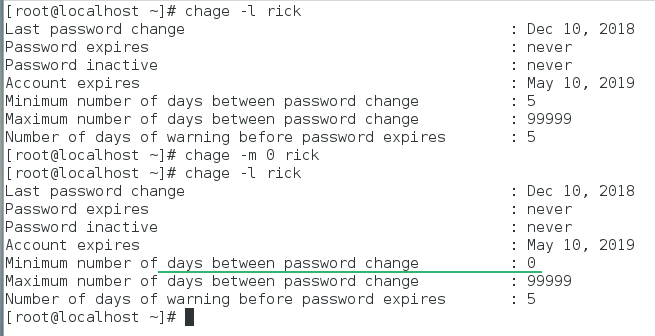minimum days to change password reset