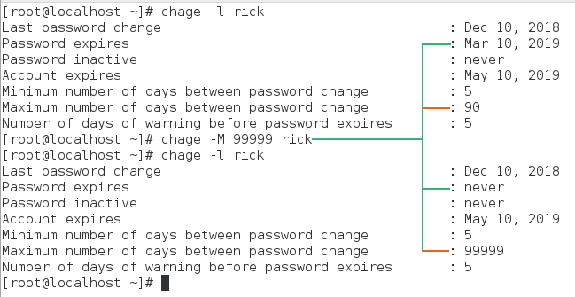 reset maximum number of days to password change