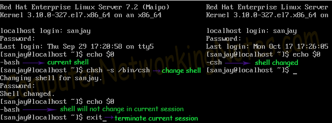 how to change shell permanently