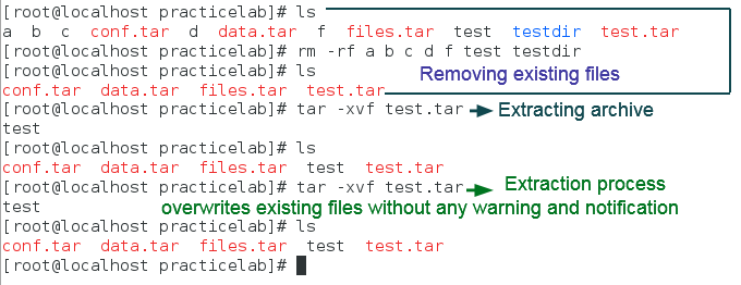 default extraction process tar command