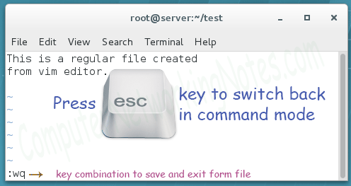 save and exit from file
