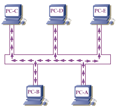 data transfer in bus topology