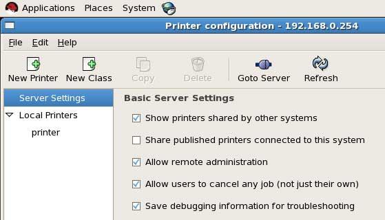 print server options