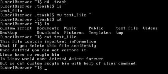 restore test file