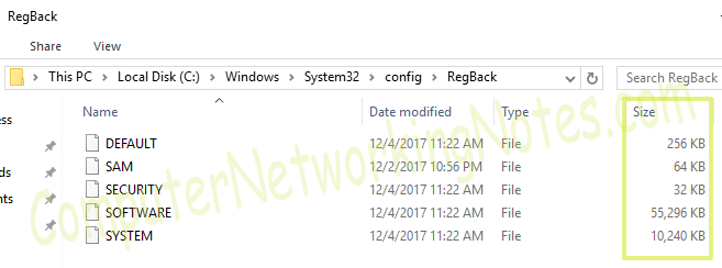 regbackup folder with files
