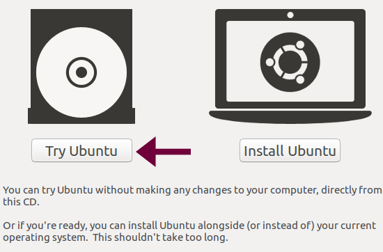 boot from ubuntu disk