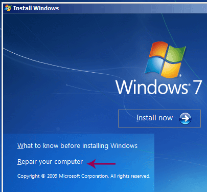 boot system from windows disk